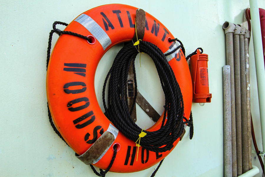 Life ring and beacon on the R/V Atlantis in case someone falls overboard. Credit: Michael Starobin/NASA