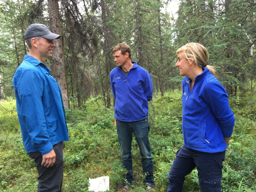 Peter Griffith, Brian Howard and Xanthe Walker discuss field work in Denali National Park to study whether 'legacy carbon' – carbon that has been stored in the soil for centuries – is being released into the atmosphere in recent, severe fires. Credit: Ramsayer/NASA