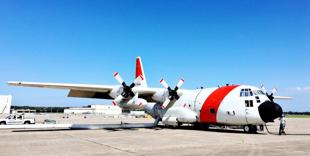 The C-130 sits on the tarmac before takeoff. Credit: NASA/Joe Atkinson