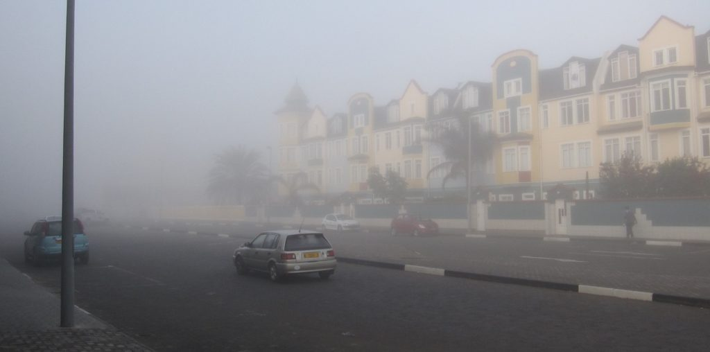 Swakopmund shrouded in morning fog at 6 a.m. Credit: NASA/Ellen Gray