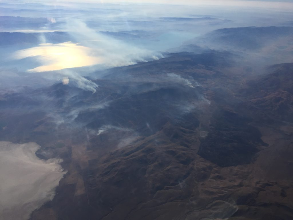 NASA's DC-8 flew over a streak of wildfires near Pyramid Lake in northwest Nevada.