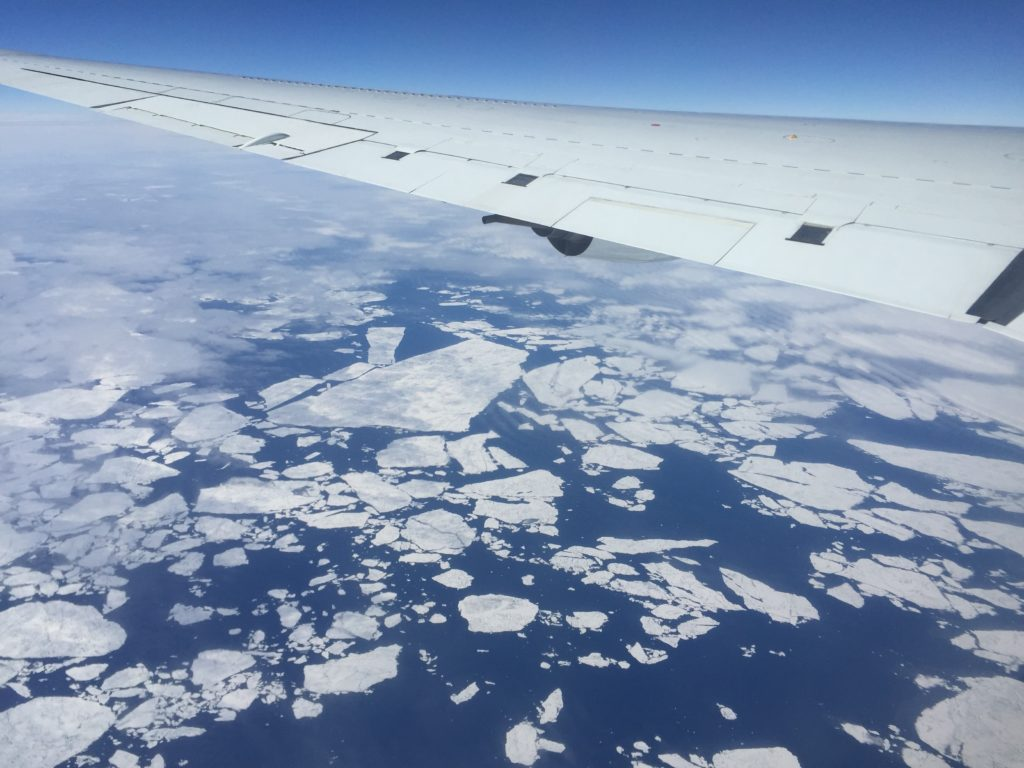 As part of the Atmospheric Tomography mission's global survey of the atmosphere, NASA's DC-8 flying laboratory flew in the Arctic Circle. Credit: NASA/Paul Newman