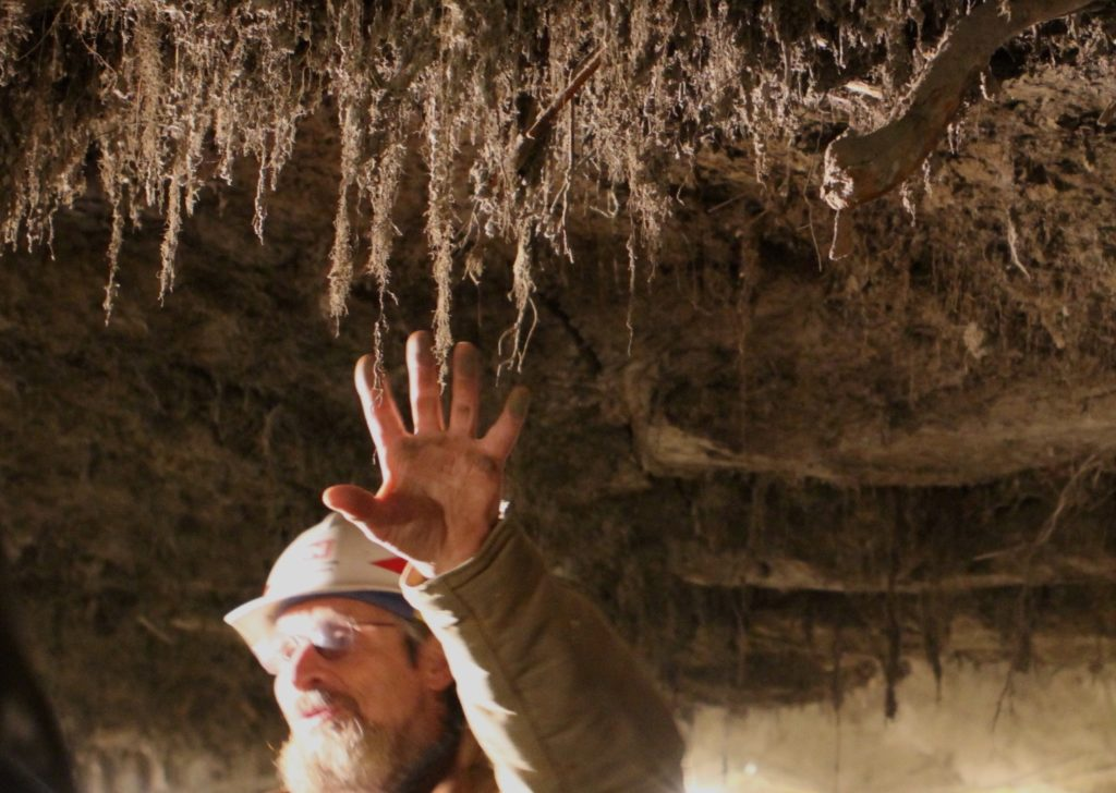 Scientist in a permafrost tunnel