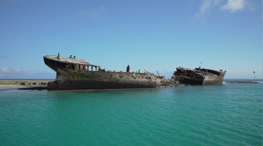 Shipwreck of the HMCS, Australia's first official naval vessel. Entrance to Heron Island's harbor. The wreck was placed there many years ago to serve as a breakwater for small craft visiting the island. Credit: Jim Round/NASA JPL