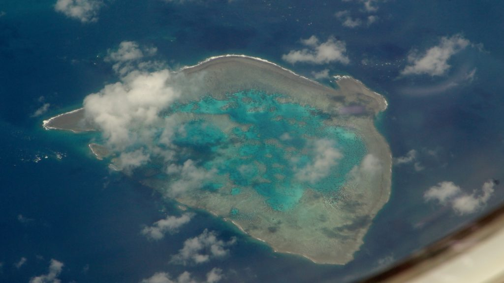 coral reef as seen from the skies.