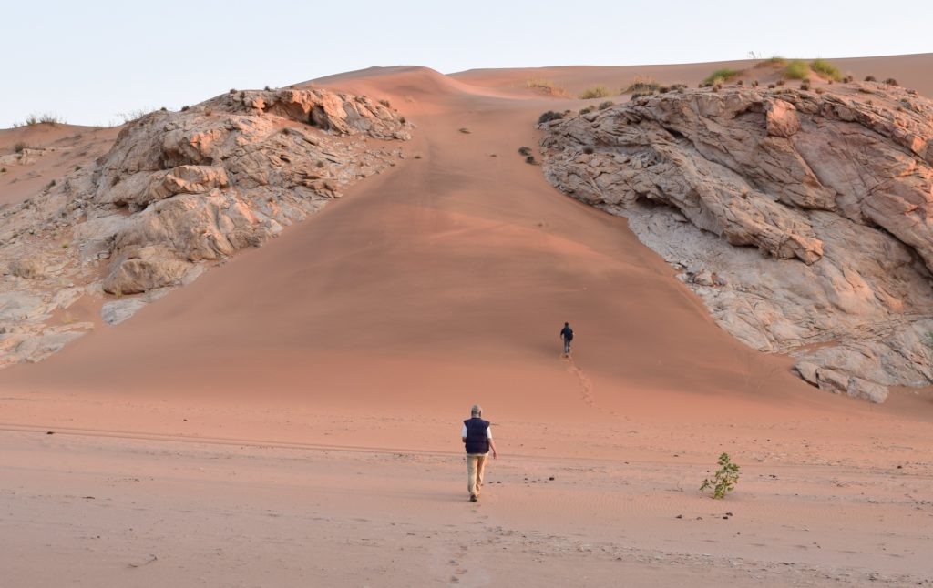 Brent Holben and his son, Sam, hiking toward the top of a dune to catch the sunset. Credit: NASA/Jane Peterson