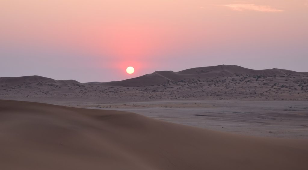 Sunset at Gobabeb, Namibia. Credit: NASA/Jane Peterson
