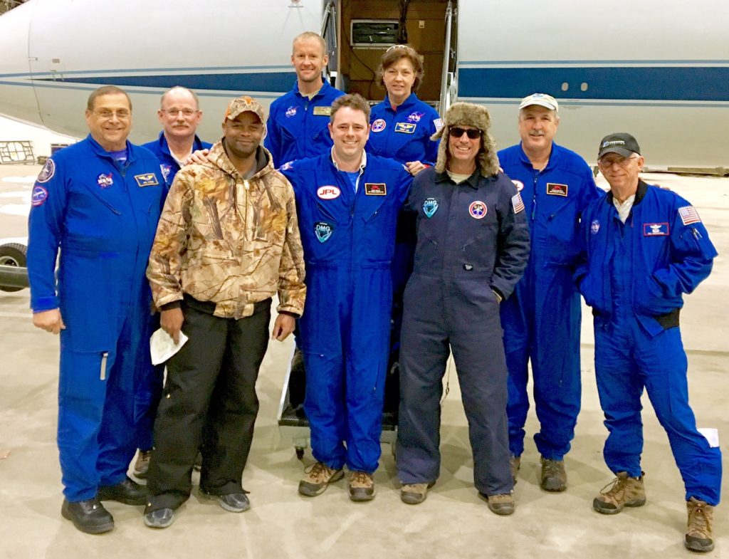 The OMG team, left to right: Flight engineer Phil Vaughn, pilot Scott Reagan, engineer Johnny Scott, engineer Charlie Marshik, principal investigator Josh Willis, flight engineer Terry Lee, engineer Dave Fuller, project manager Steve Dinardo and pilot Bill Ehrenstrom. Willis and Dinardo are from JPL, the rest of the team from NASA's Johnson Spaceflight Center.