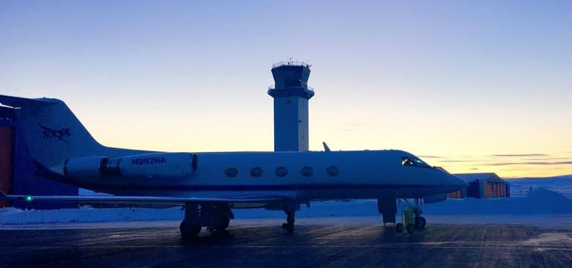 NASA's probe-dropping Gulfstream-III aircraft at sunrise in Thule, Greenland. Credit: NASA/Bill Ehrenstrom