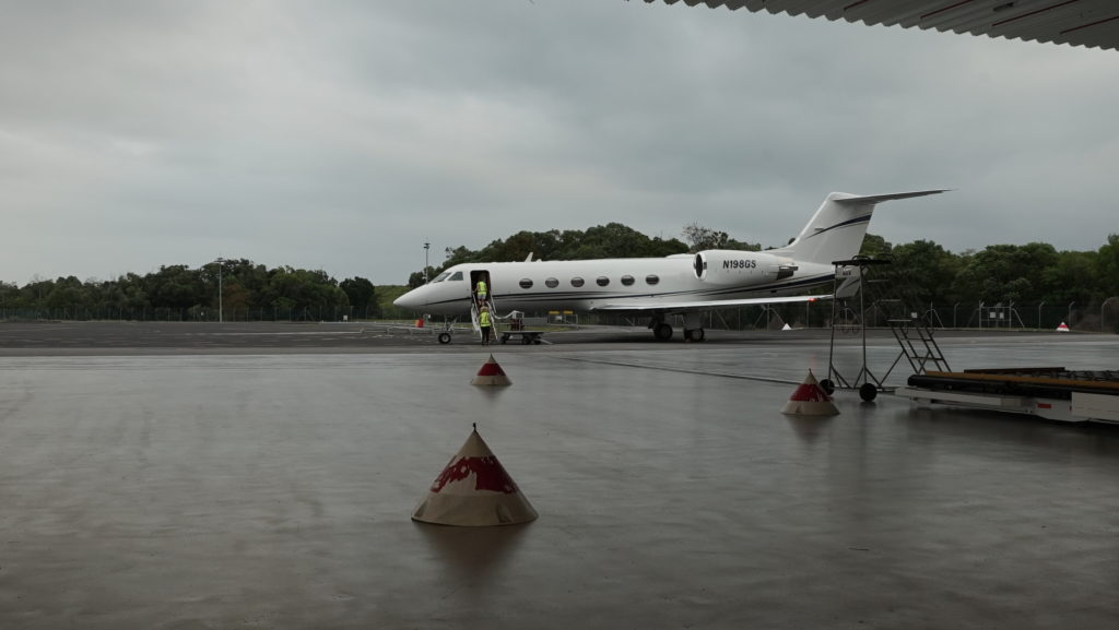 The Gulfstream IV aircraft on the runway on a rainy day at Australia's Cairns Airport. Credit: NASA/Alan Buis