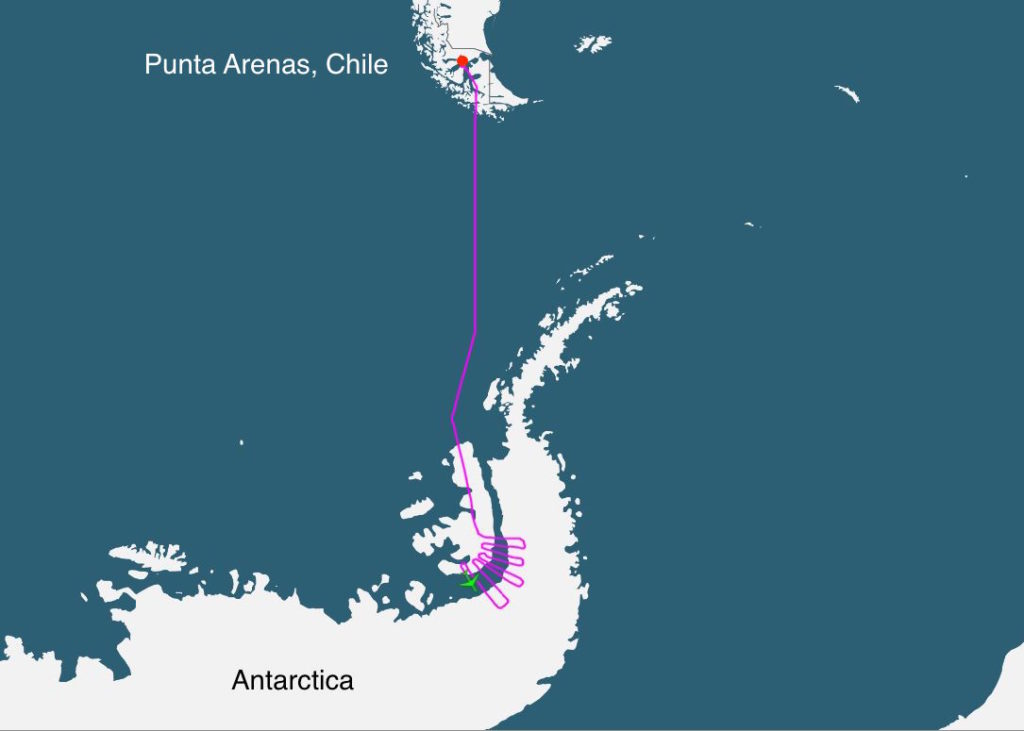 Operation IceBridge's DC-8 flight track from October 14, 2016, showing the position of the aircraft (green icon) over Antarctica about half way through the 11-hour science flight.  The DC-8 takes off and lands at Punta Arenas, Chile.