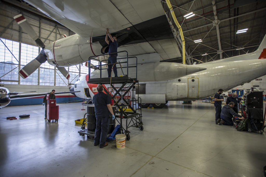A crew makes final preparations to NASA's C-130H at Wallops Flight Facility on Virginia's Eastern Shore ahead of ACT-America's winter field campaign. Credit: NASA/Patrick Black