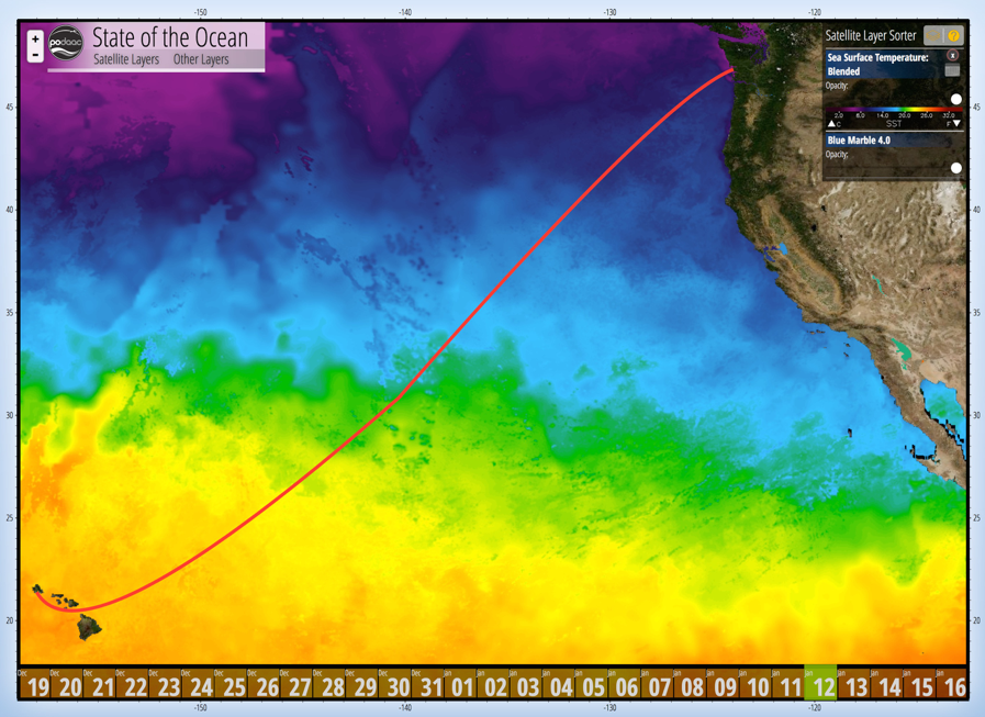 Current sea-surface temperatures with the approximate track of the R/V Falkor from Hawaii to the Pacific Northwest. Credit: PO.DAAC/NASA