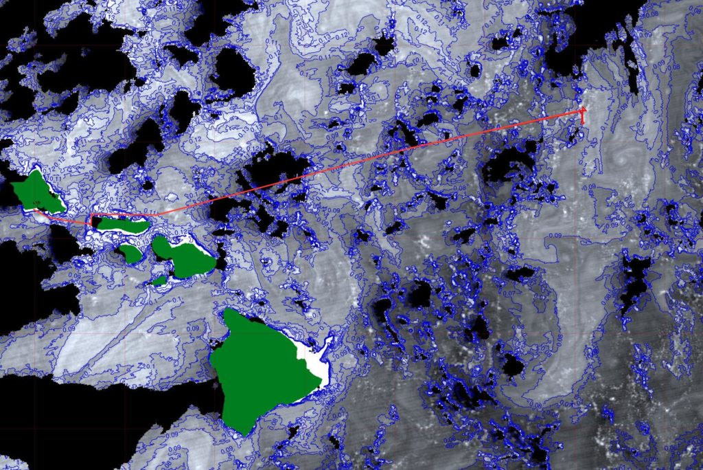 Hawaiian Islands in green with chlorophyll concentrations contoured at 0.1 mg m-3 intervals from the Suomi-NPP VIIRS at 22:54 UTC on Jan 27, 2017. The ship's track is shown in the red line. Credit: Norman Kuring/NASA