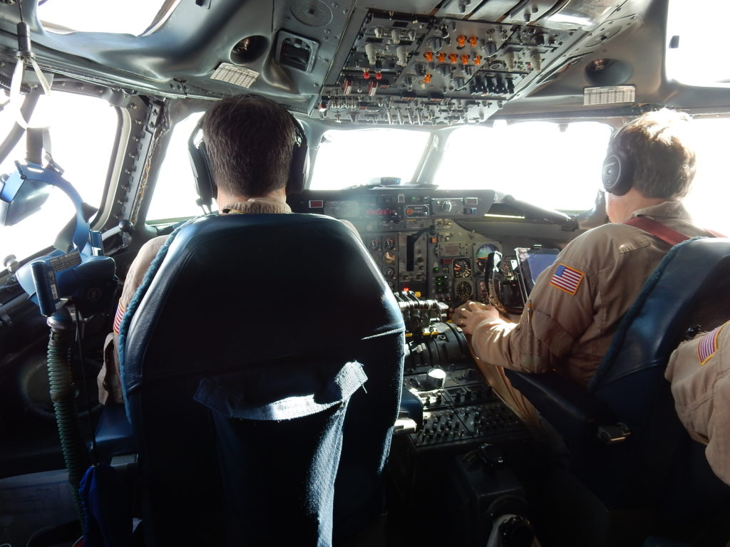 View of the cockpit of the DC-8 in flight. Credit: NASA/Michael Prather