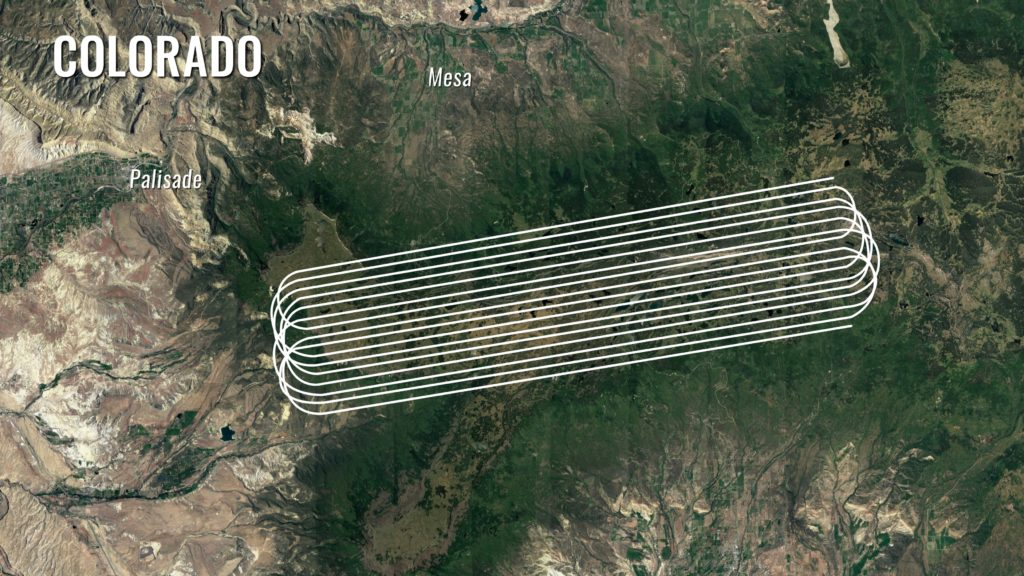 "The SnowEx aircraft fly in ""lines"" above field sites set up on Grand Mesa, Colorado. Here, a satellite image of Grand Mesa in summer shows the topography with the flight lines superimposed on top. Credit: NASA/ Joy Ng"