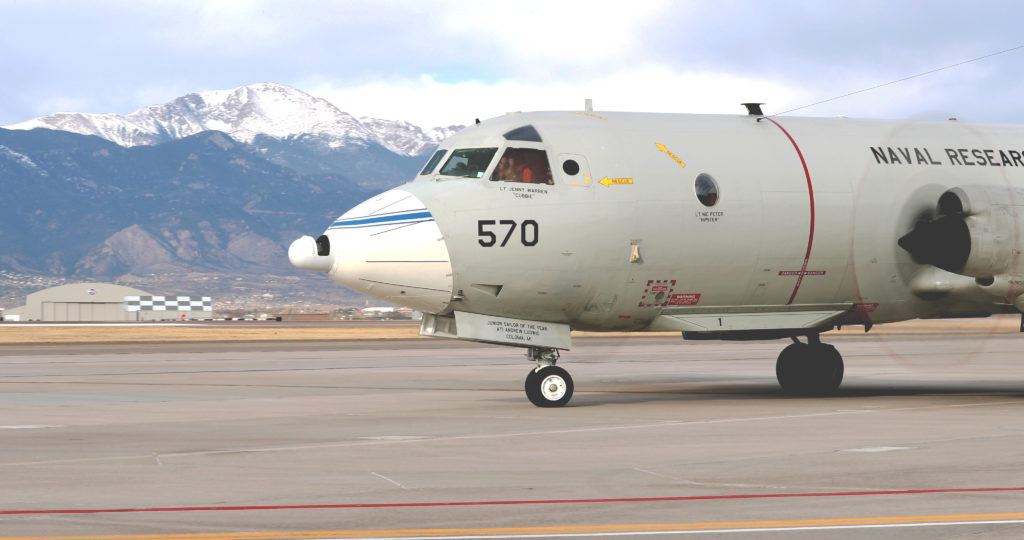 The P-3 Orion aircraft in the Peterson Air Force Base in Colorado Springs just before take-off. Credit: NASA/Joy Ng