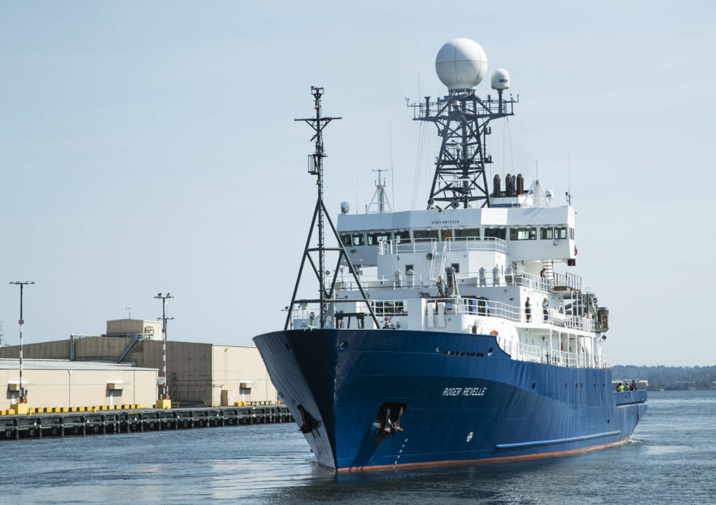 R/V Roger Revelle left Seattle on Aug. 10, 2018. The ship will follow the R/V Sally Ride to the open ocean, where they will conduct complementary research at sea. Credits: NASA/Michael Starobin