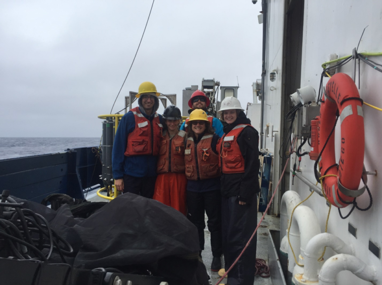 The Zooplankton Team getting ready to deploy the MOCNESS on deck (minus Joe, who runs the computer portion of the MOCNESS). From left to right: Andrea Miccoli, Karen Stamieszkin, Brendon Mendenhall (Restech), Deb Steinberg (Chief Scientist), and Chandler Countryman. Credit: Chandler Countryman