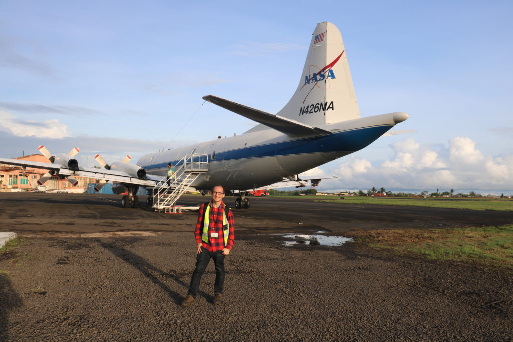 Image 1: Michael Diamond in front of the P-3 at São Tomé International Airport before the October 10th, 2018, ORACLES flight. Photo credit: Rob Wood