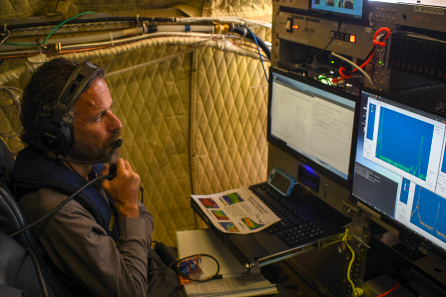 Simone Tanelli (Jet Propulsion Laboratory) operating the APR-3 radar. Photo Credit: Andrew Dzambo
