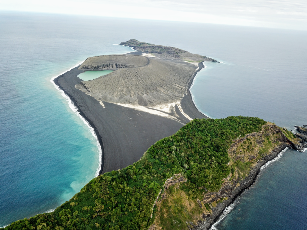 The three year-old volcanic island (black) as seen from the SEA drone. Credit: Woods Hole