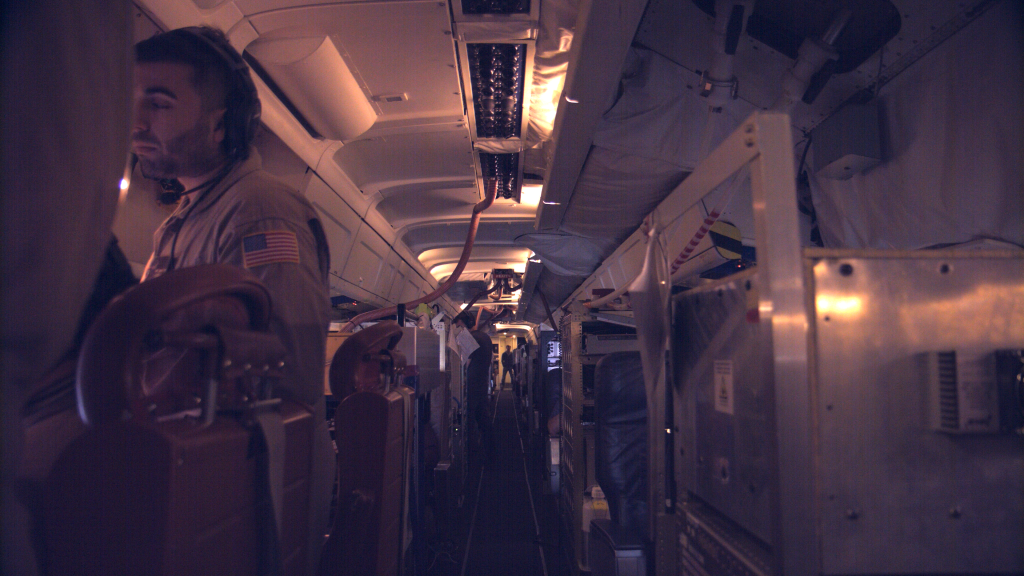 The interior of the DC-8 has instruments where seats would be on a commercial plane. They suck smoke inside through inlets and tubing that connect to the instruments. July 25, 2019. Credit: NASA