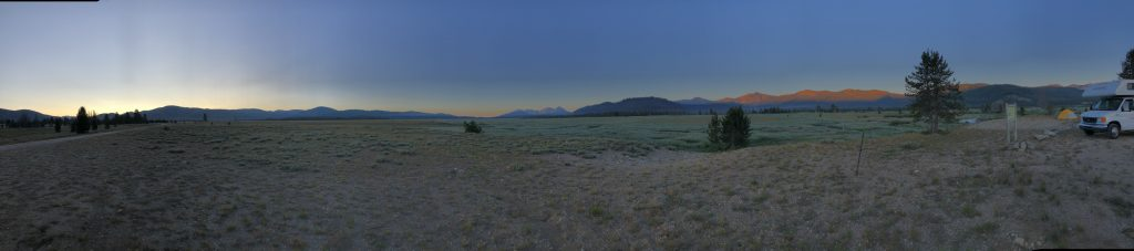 Our campsite near Stanley, Idaho, was in the middle of a long and wide valley, framed by mountains. July 24, 2019. Credit: NASA