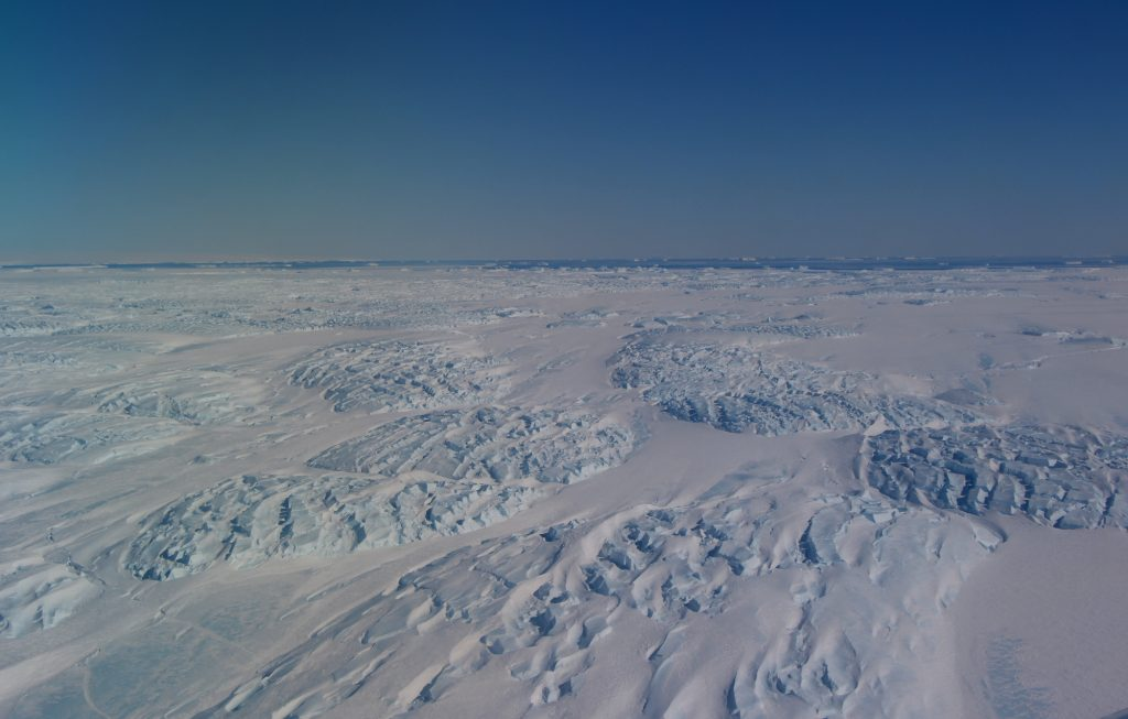The tongue of Antarctica's Dibble Glacier, as seen from the first flight of IceBridge's final polar campaign. (Credit: John Sonntag/NASA)