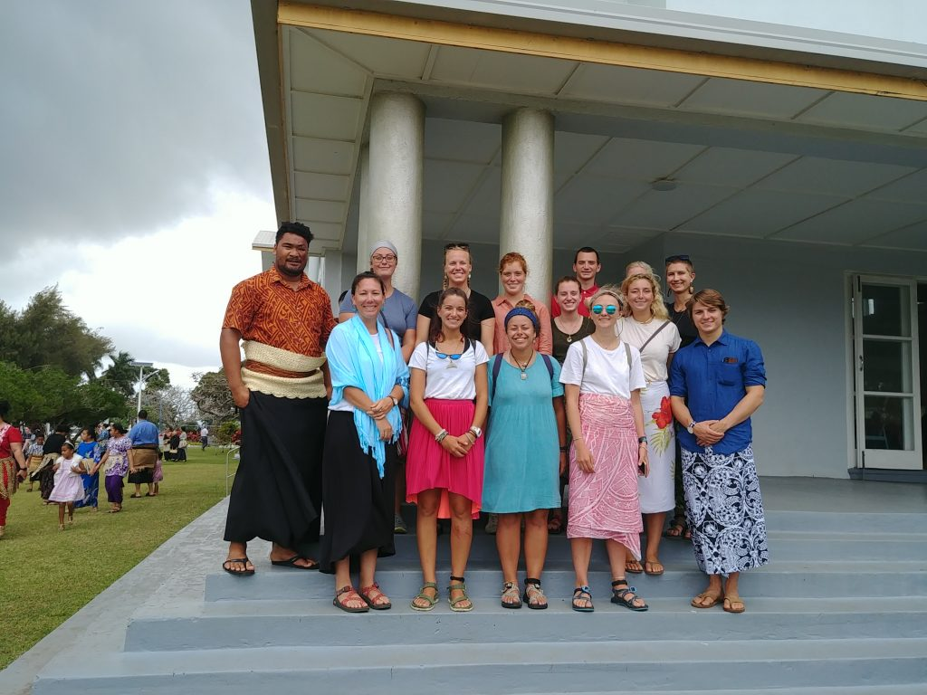 The SEA class of 288, Chief Scientist Kerry Whittaker, Chief Anthropologist Emily Hite, and Tongan observer Pen Vailea attend the Free Wesleyan church in Nuku'alofa, Tonga. Credit: SEA