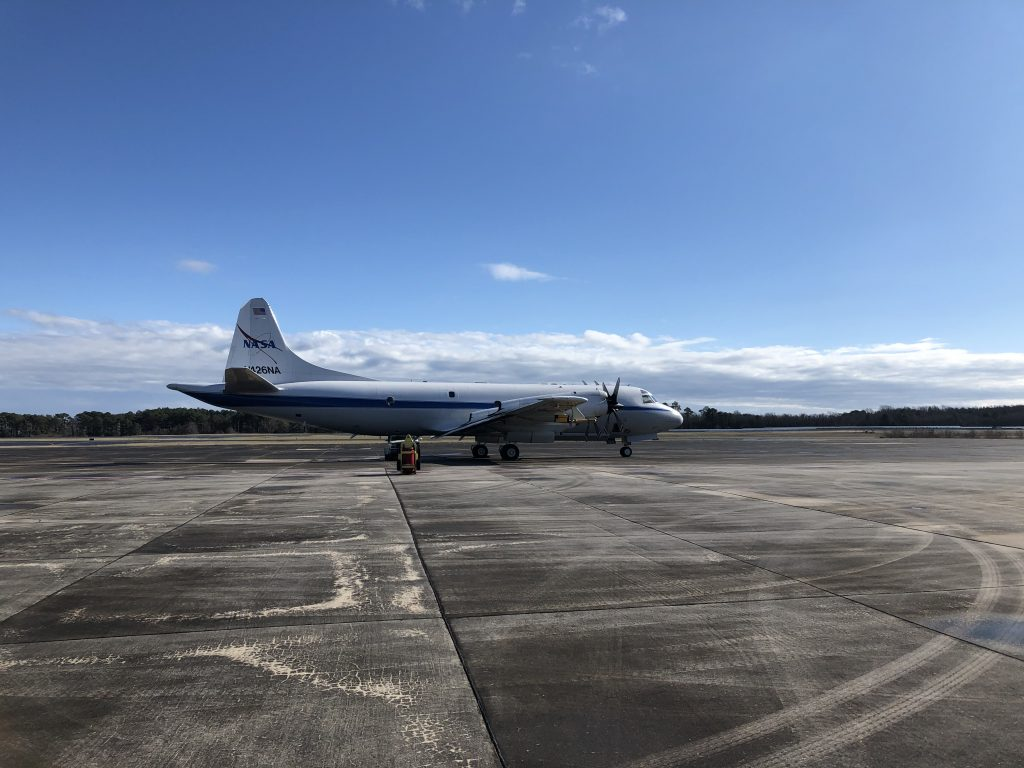 The NASA P-3 Orion on the runway ready for IMPACTS' second science flight on Jan. 25, 2020, at NASA's Wallops Flight Facility in Virginia. Credit: NASA/Katie Jepson