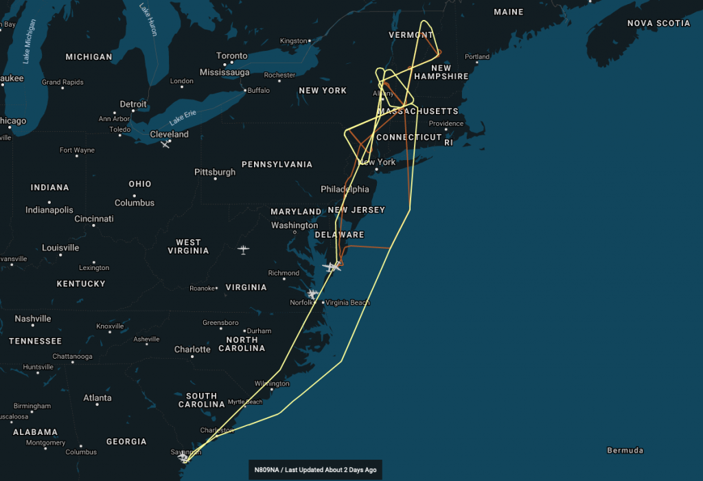 "The ER-2 flight path is shown in yellow on top of the orange P-3 track. For the majority of the flight the two planes were in a ""stacked"" formation. Credit: NASA"