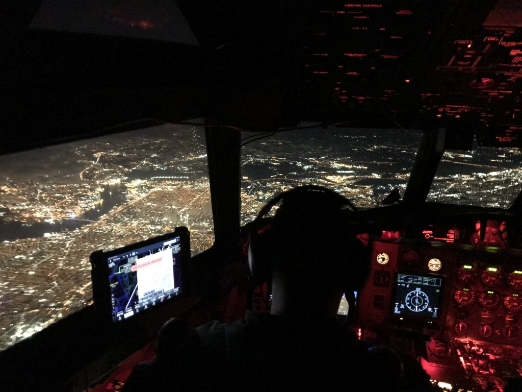 The view of Philadelphia at night from the cockpit of the P-3 on our way back to Wallops. Credit: NASA/Katie Jepson