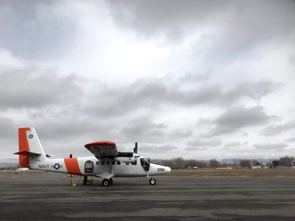 The DHC-6 Twin Otter carrying the SWESARR and CASIE instruments was grounded in the morning due to high winds, but took off late in the afternoon for one flight over the mesa. Credit: NASA / Jessica Merzdorf