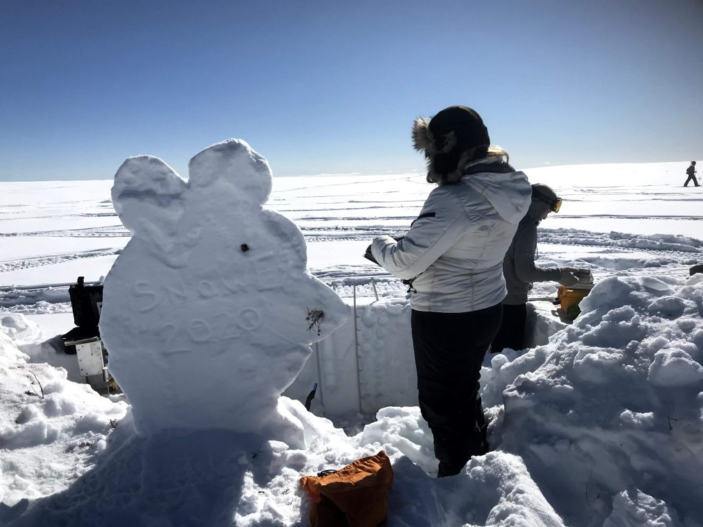 "The SnowEx ""mascot"" for 2020 was the ""strong work mouse,"" honoring the small field mice that visited the snow pits during the first two weeks of data collection. Suzanne Craig of the National Snow and Ice Data Center records data next to a snow sculpture of the strong work mouse. Credit: NASA / Jessica Merzdorf"