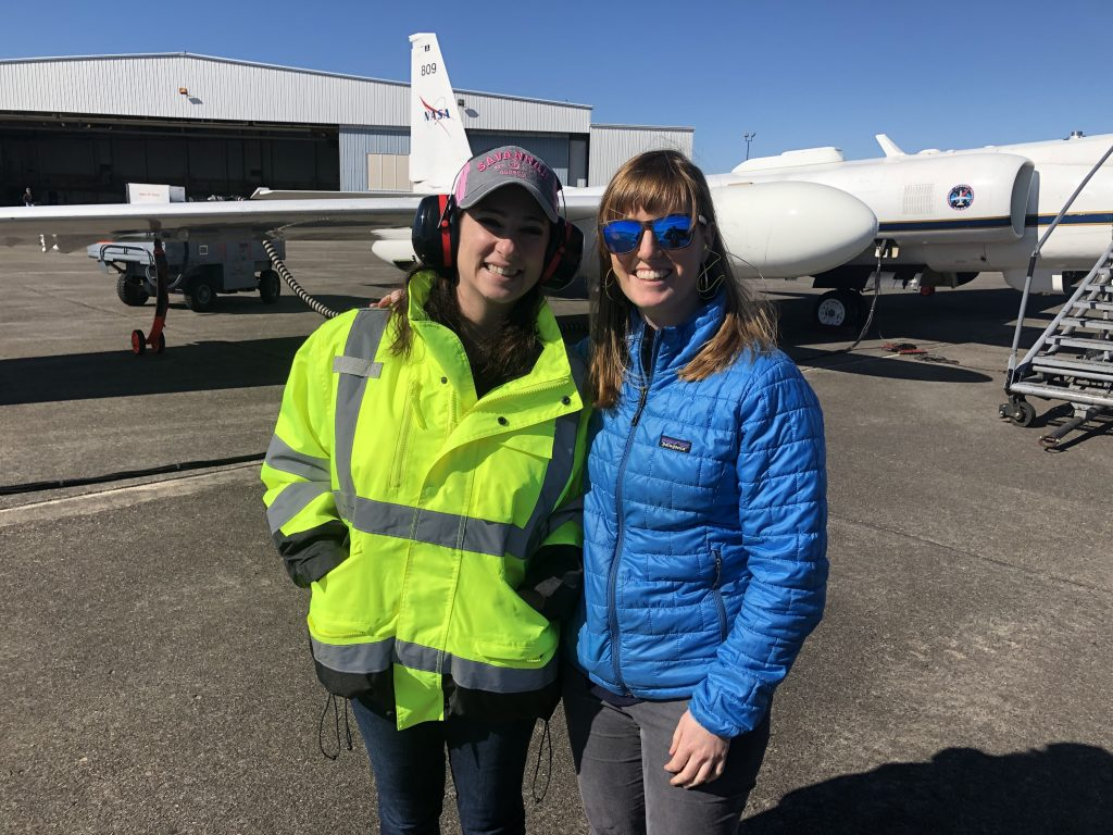 Deputy Project Managers Fran Becker and Katie Stern awaiting the ER-2 science flight. Cross winds were mild and the ER-2 was able to take off. Credit: NASA