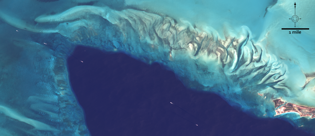 The primary test site for the expedition was just west of the Berry Islands on the northern edge of the Great Bahama Bank. The location was chosen as the prime testing site because it gradually changed depth from one meter to deep ocean in a short north-south span (25 nautical miles). This natural-color Landsat 8 image acquired on March 23, 2019, shows where the northern Great Bahama Bank meets the deep ocean. Image credit: NASA/USGS Landsat