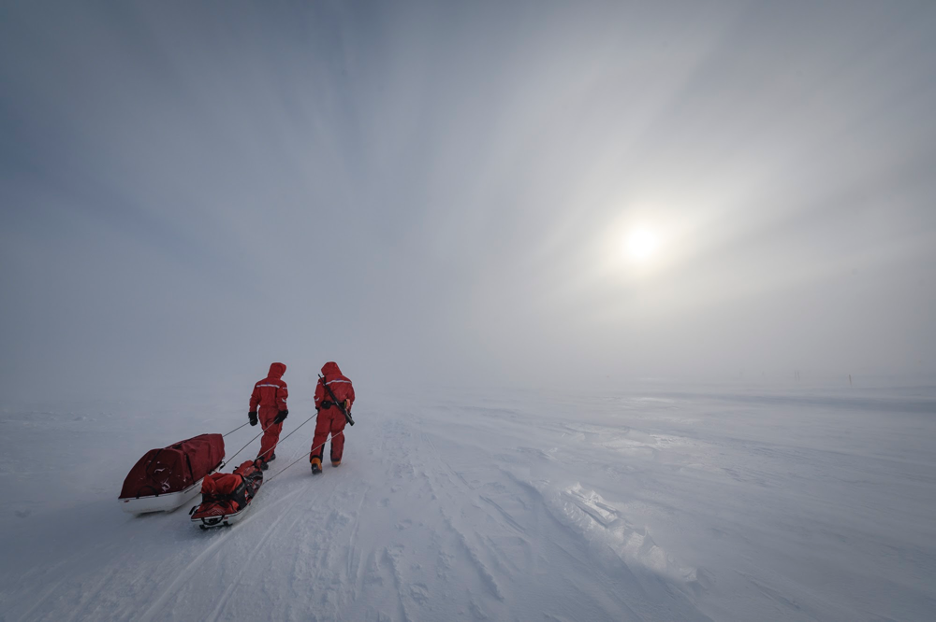 Researchers haul their equipment to their field sites through snow blown by harsh winds. One researcher, a polar bear guard, carries a rifle on his back in case of an emergency. Credit: Alfred Wegener Institute / Delphin Rouché