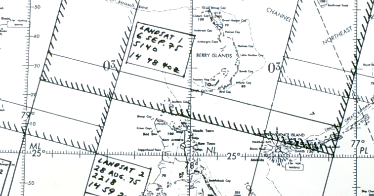 A detail from the planning map used for the 1975 NASA-Cousteau Bathymetry Experiment showing the Berry Islands. The hatched lines show the location of Landsat scene edges. Click on image for full map. Image credit: NASA