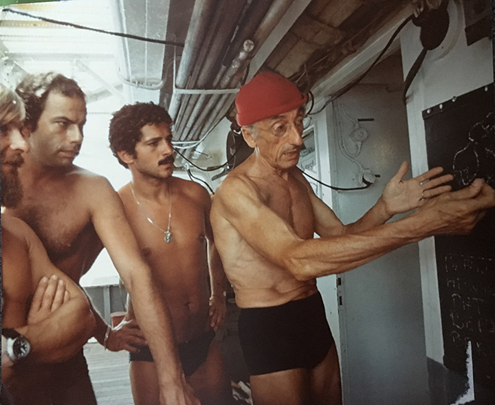 acques Cousteau and his team of expert divers were a key part of the success of the 1975 NASA-Cousteau Bathymetry Experiment. In this photo from left to right: Bernard Delemotte, Chief Diver; Henri Garcia; Jean-Jérome Carcopin, and Jacques Cousteau. Photo credit: NASA