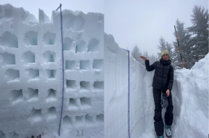 (L): Scientists dig these horizontal columns to sample the density in different parts of a snowpack. Each box represents a density sample taken every 10 cm. Multiple density cores of each layer are taken horizontally to account for any anomalies and for accuracy. (R): Measuring a later season snowpack stacking up outside of Boise, Idaho in January 2021. Credit: G. Antonioli