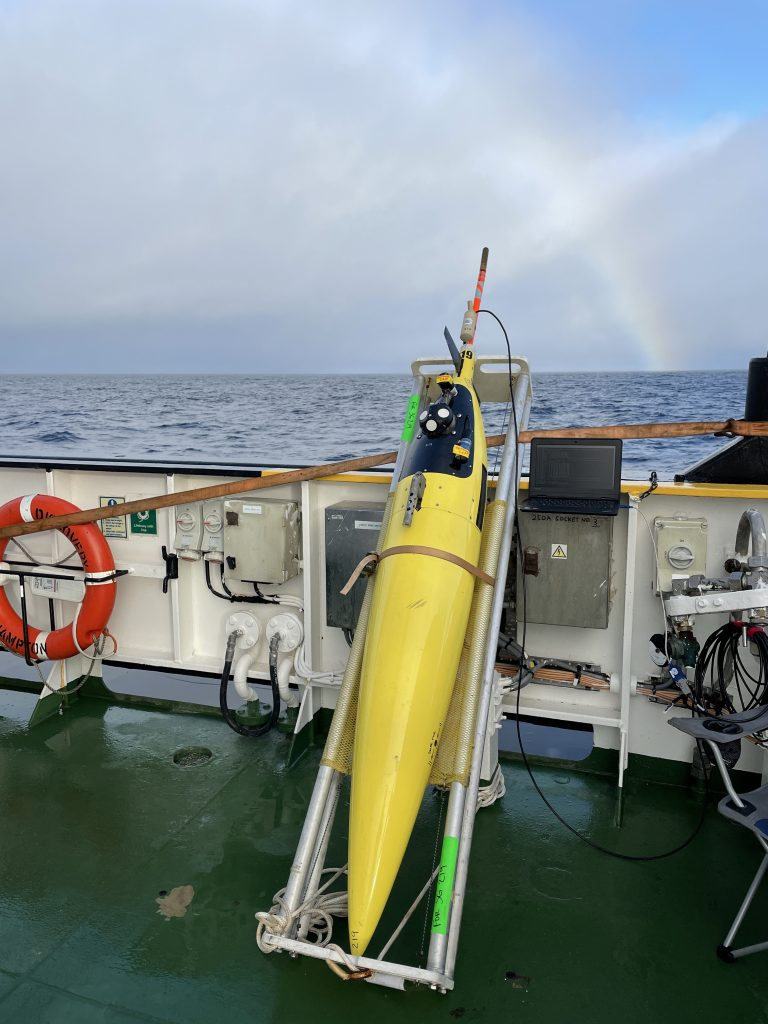 One of the seagliders deployed on DY130, the cruise immediately prior to ours, which helped us scout features ahead of the ship and make informed decisions about where to sample.