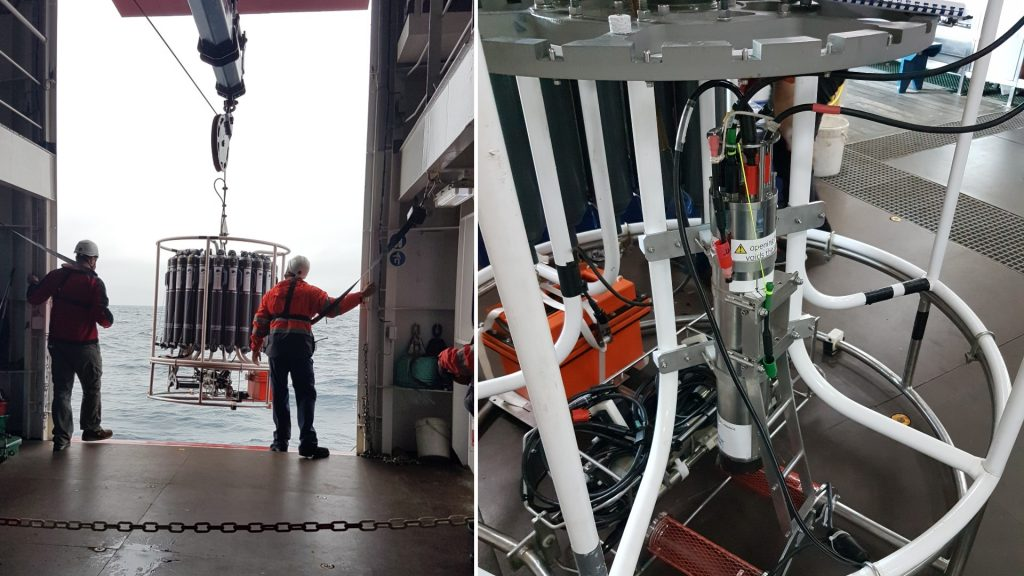 Deployment of the CTD frame containing the UVP5 and Niskin bottles. Credit: Laetitia Drago