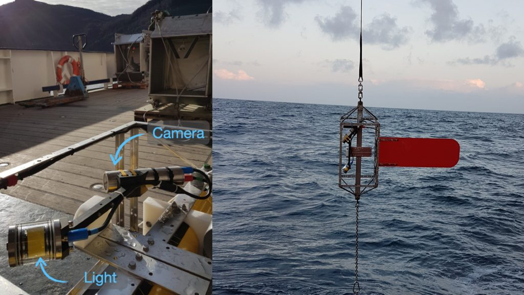 UVP6 in its cage (left) and during the deployment (right). Credit: Laetitia Drago