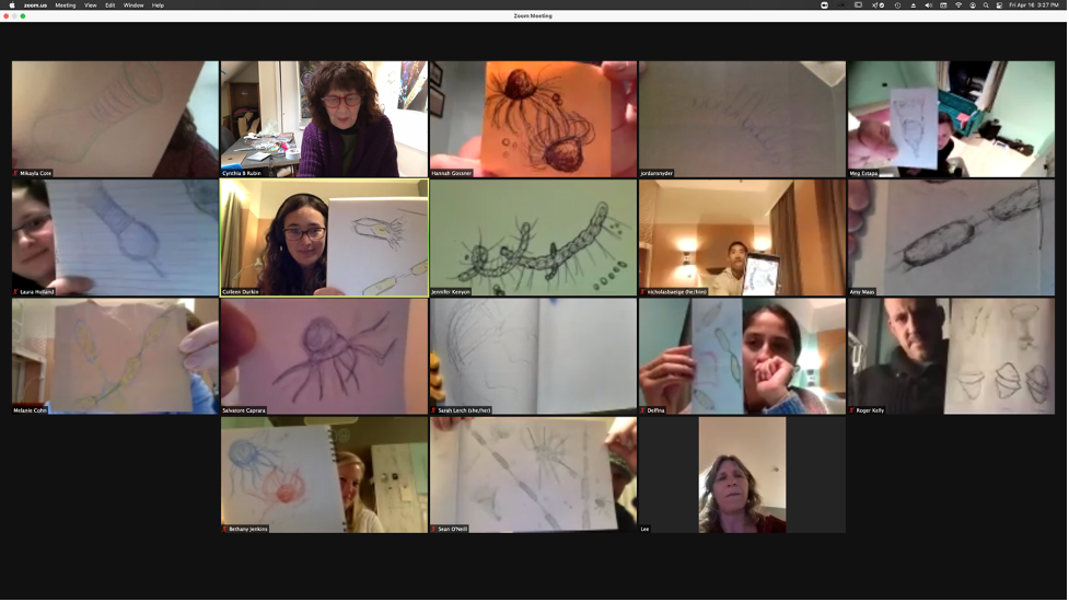 The EXPORTS team showing off their artistic talents during their quarantine.  Credit: Susan Menden-Deuer