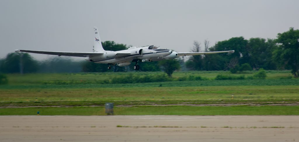 Photo of the ER-2 Aircraft taking off.