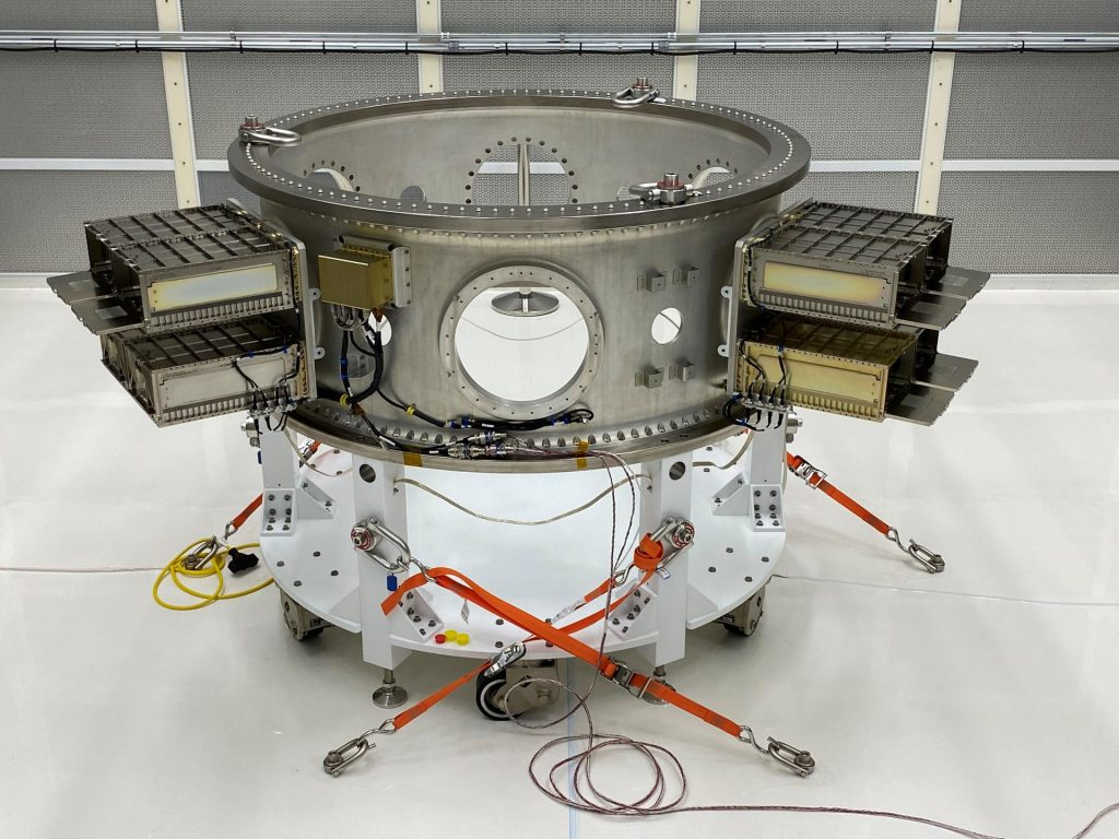 Mechanical and electrical support equipment for NASA's Landsat 9 observatory being processed inside the Integrated Processing Facility at Vandenberg Space Force Base in California, on June 24, 2021. The equipment includes a secondary payload adapter and flight system for a group of microsat payloads, called CubeSats, that will launch with Landsat 9 as secondary payloads.