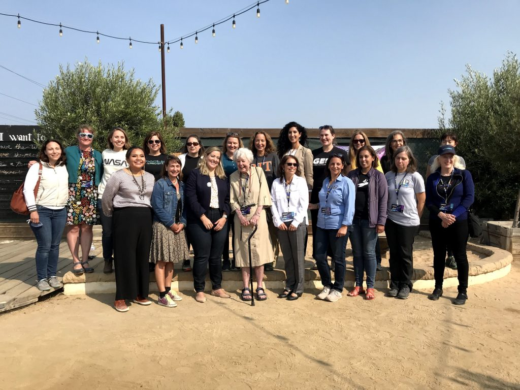 """Virginia T. Norwood (center, with cane), the """"Mother of Landsat,"""" poses with the """"Ladies of Landsat"""" group at a post-launch talk and celebration at Montemar Wines, Lompoc, California, on September 27th. Credit: NASA / Jessica Evans"""
