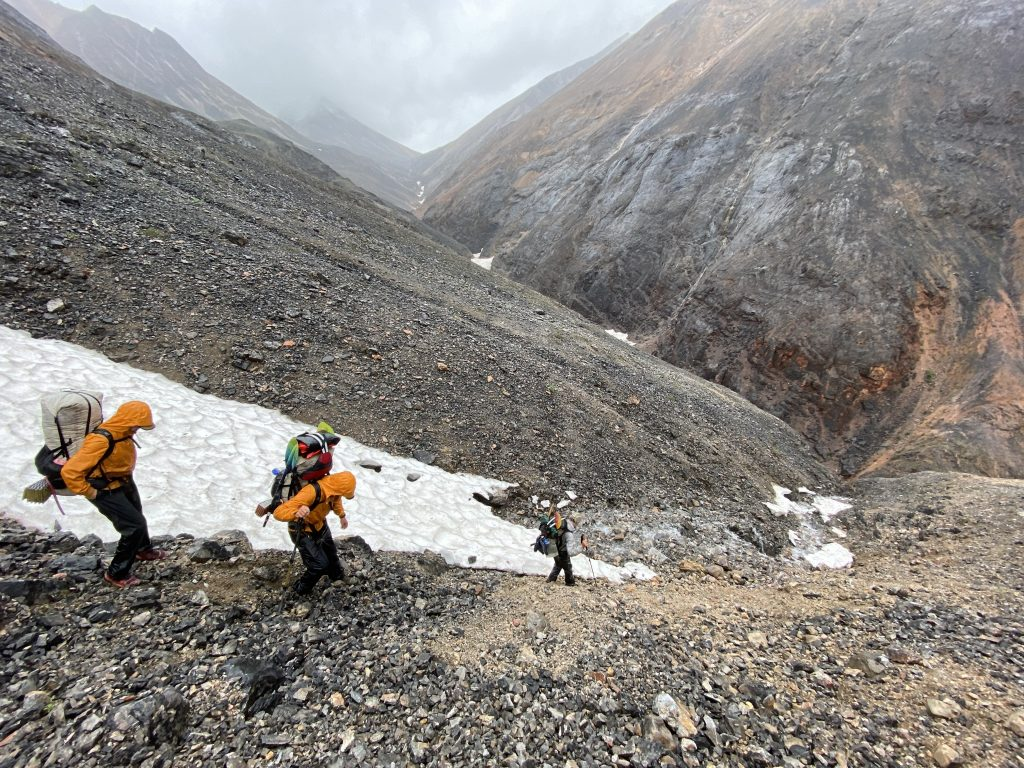 Roman Dial leads the team in the barren mountains of northern Alaska's Brooks Range. Photo Courtesy Logan Berner