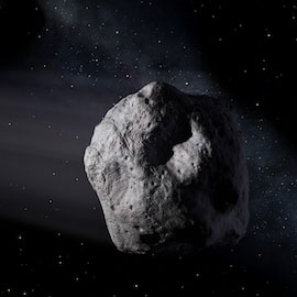 Artist's illustration of an asteroid in space